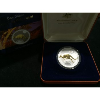 2006 Australian Selectively Gold Plated Kangaroo 1oz Silver Coin