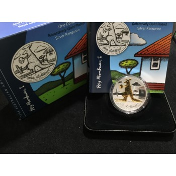 2008 Australian 1oz Silver Selective Gold Plating Kangaroo Coin
