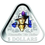 2016 $5 ANZAC COLOURED SILVER TRIANGULAR COIN - REMEMBER THE FALLEN