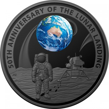2019 50th Anniversary of the Lunar Landing Domed Black Nickel Plated Silver Proof
