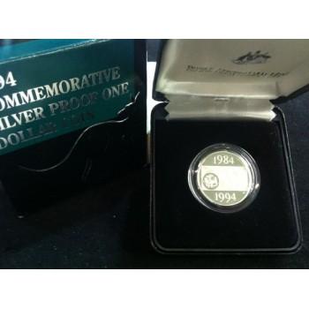 1994 Australian Silver $1 Proof Coin - Decade Dollar