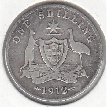 1912 AUSTRALIAN ONE SHILLING SILVER COIN VG