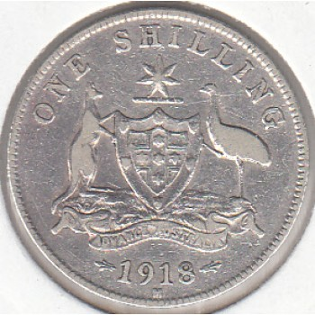 1918 AUSTRALIAN ONE SHILLING SILVER COIN FINE