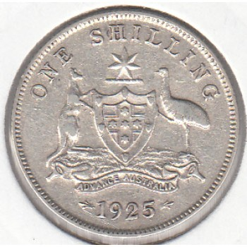 1925 AUSTRALIAN ONE SHILLING SILVER COIN gFINE