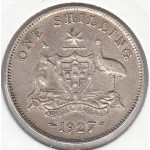 1927 AUSTRALIAN ONE SHILLING SILVER COIN VERY FINE