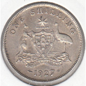 1927 AUSTRALIAN ONE SHILLING SILVER COIN VERY FINE