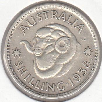1938 AUSTRALIAN ONE SHILLING SILVER COIN GOOD FINE