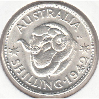 1942S AUSTRALIAN ONE SHILLING SILVER COIN GOOD VERY FINE